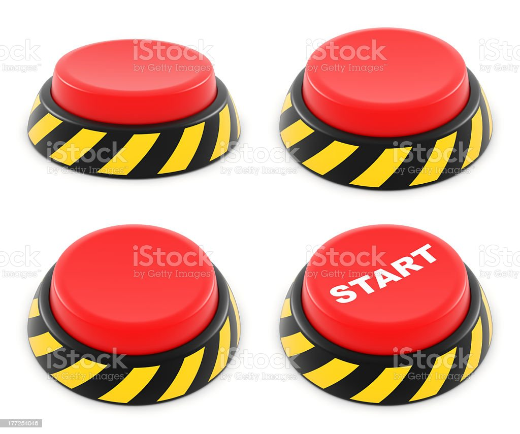 Set of red buttons stock photo