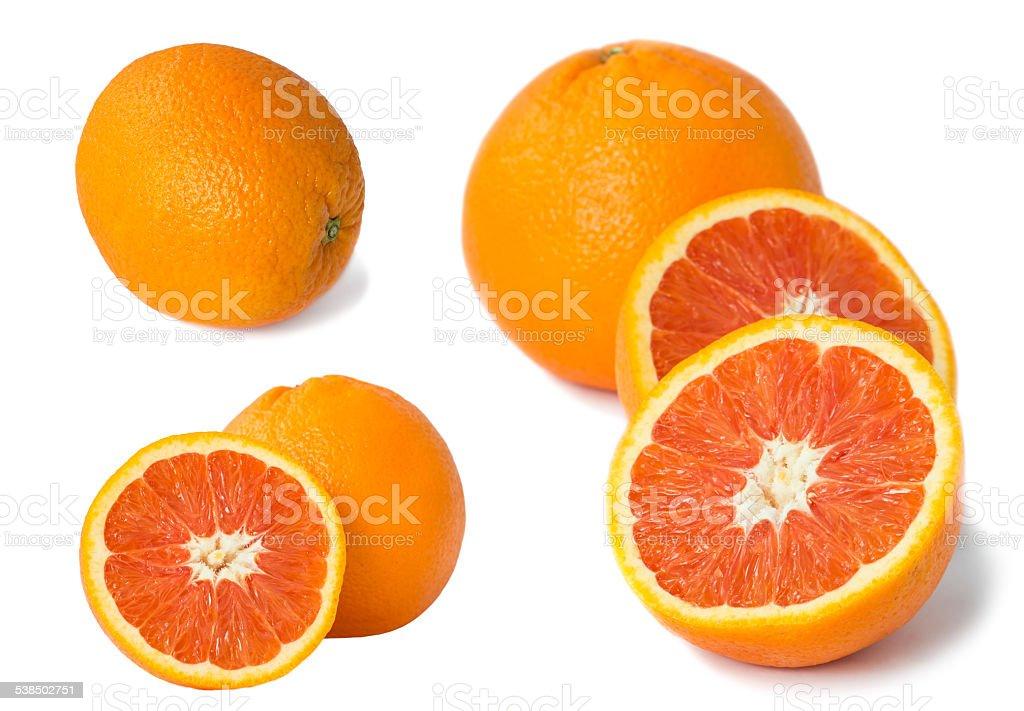 Set of Red orange fruit isolated on white stock photo