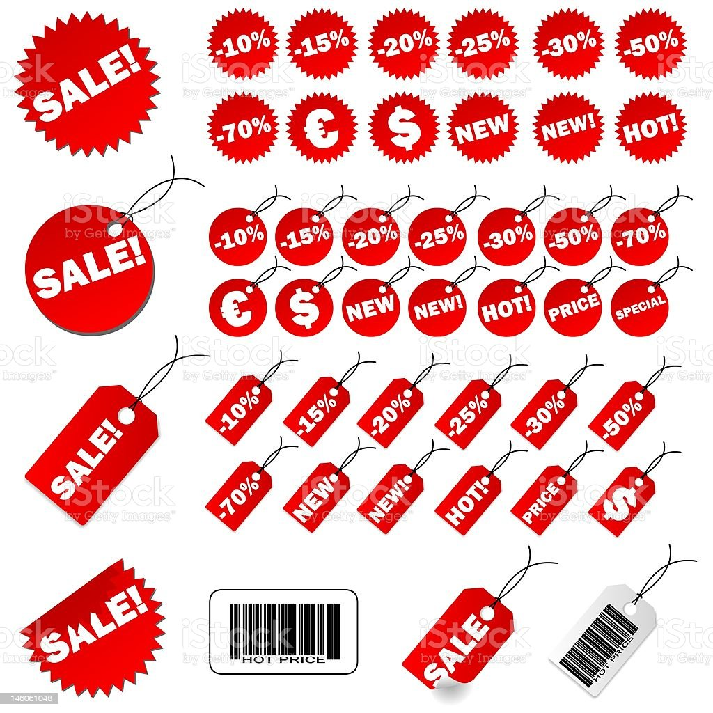 Set of red price tags stock photo