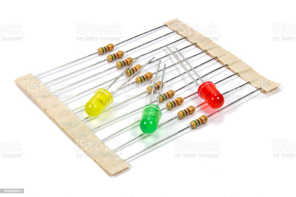 Set of resistors and colored LED diodes stock photo