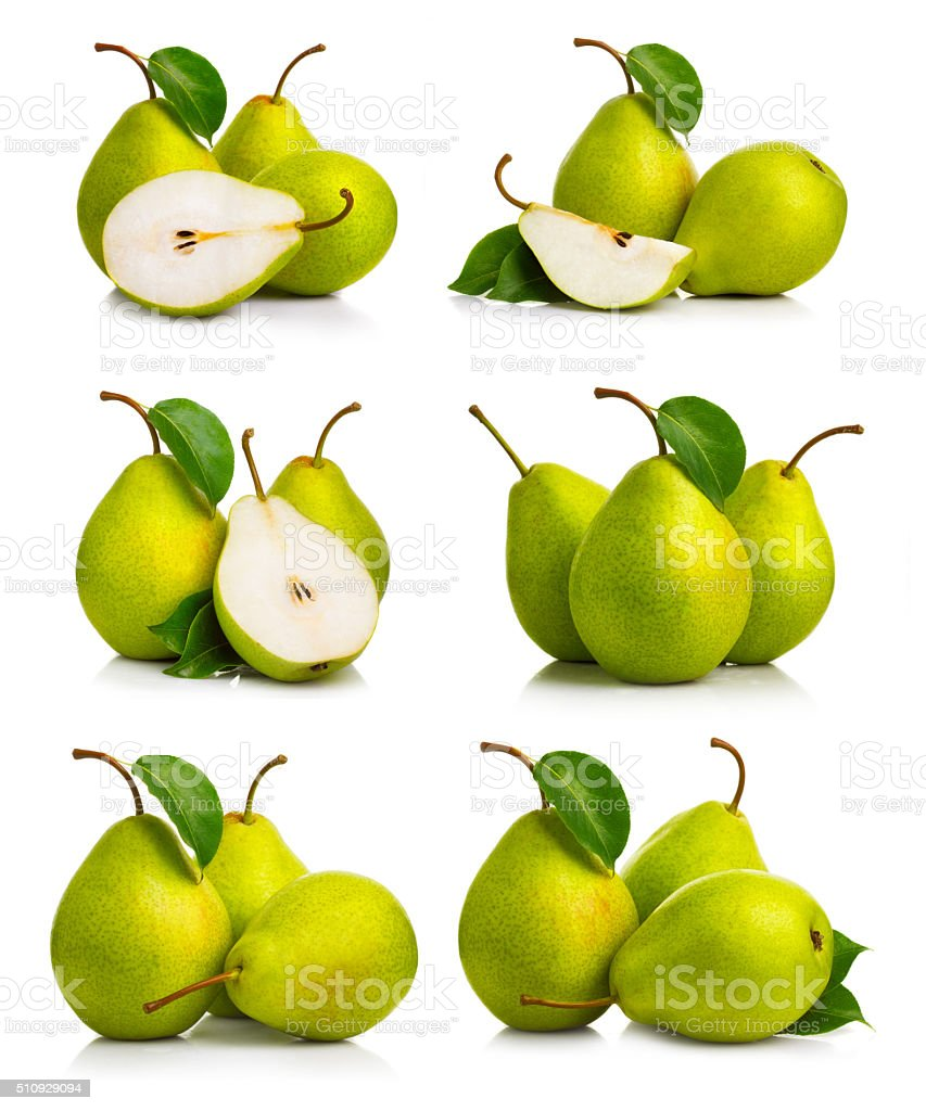 Set of ripe green pear fruits with leaves stock photo