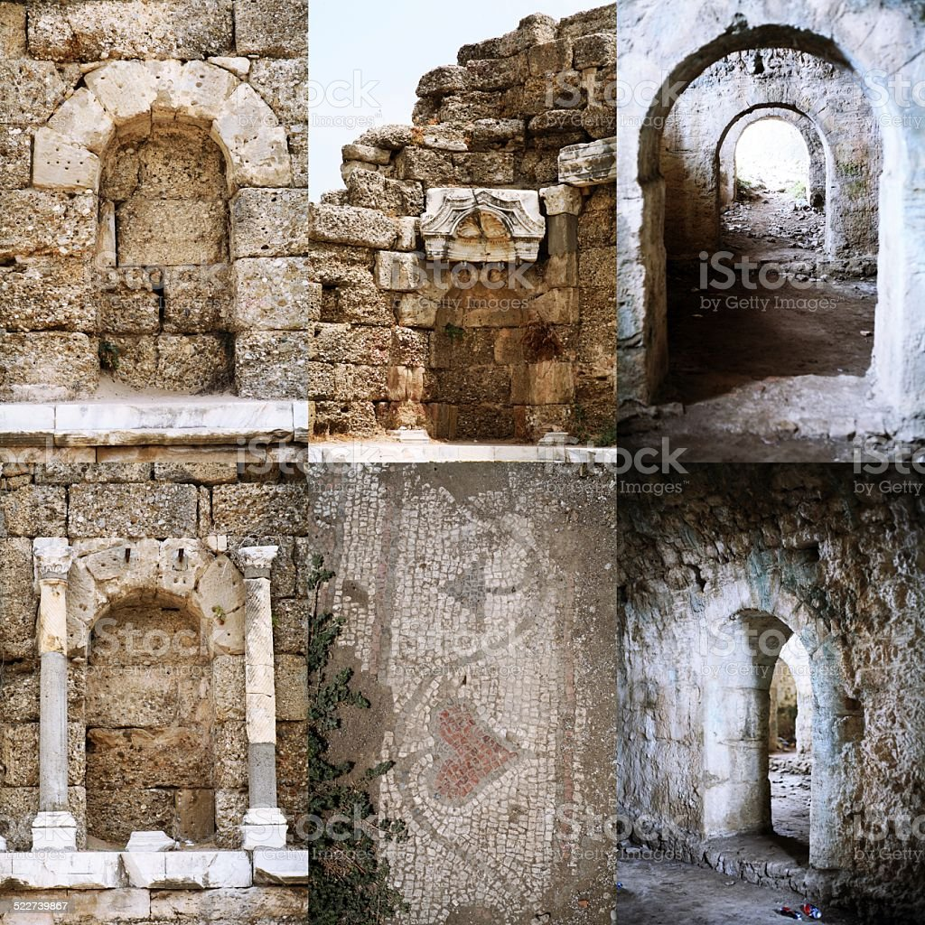 Set of Roman open and immured arch doorways in Side, stock photo