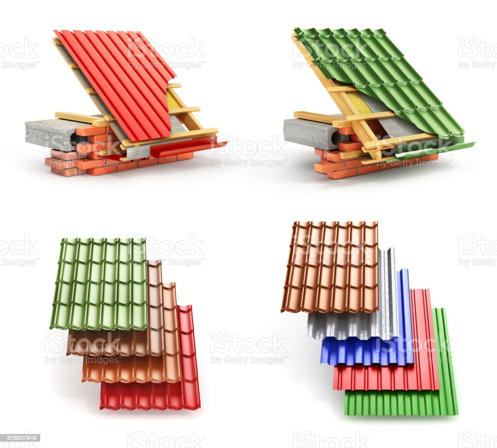 Set of roof coating. Metal tile coating on the roof with technical details and layers of construction. 3d illustration stock photo