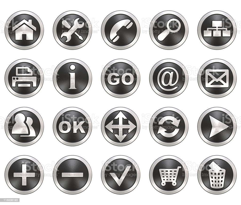 Set of round gray and silver web icons royalty-free stock photo