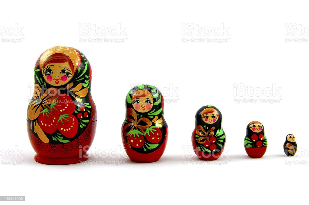 Set of russian dolls royalty-free stock photo