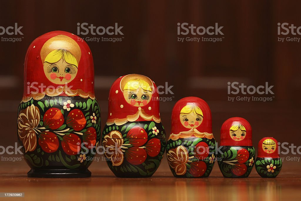 Set of Russian Nesting Dolls ( Matryoshka ) royalty-free stock photo