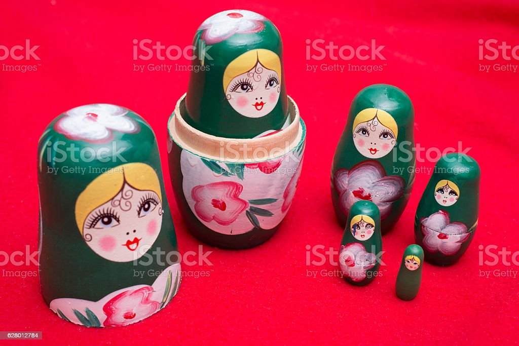 Set Of Russian Nesting Dolls stock photo