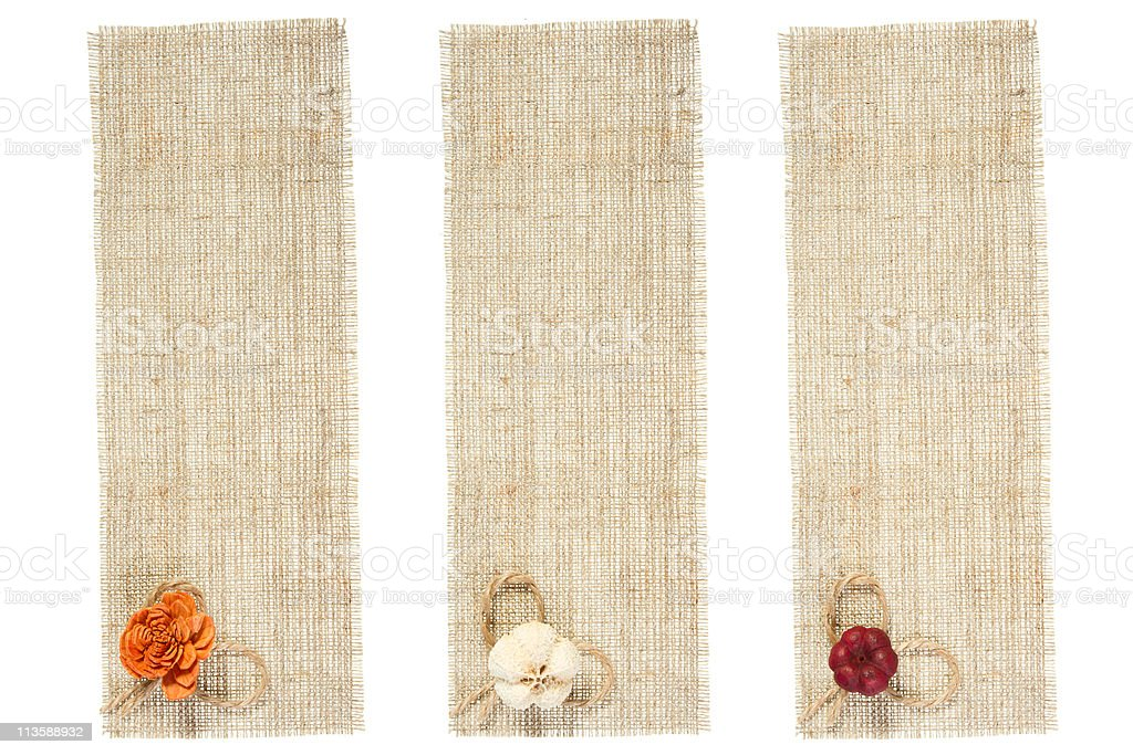 set of sackcloth tag with decor royalty-free stock photo