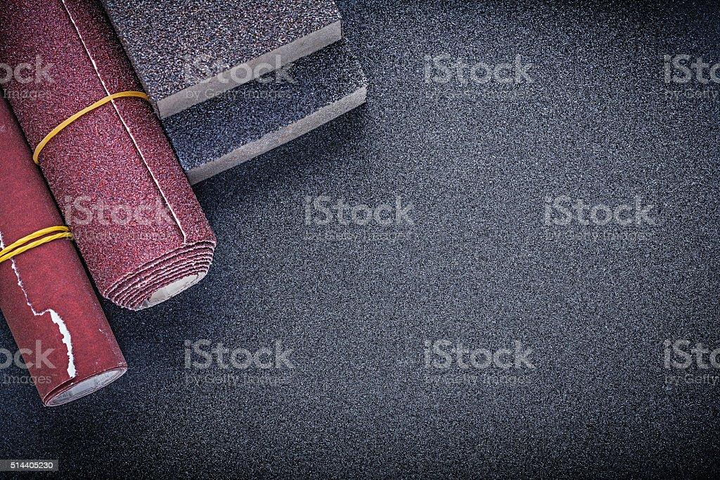 Set of sanding sponges emery paper abrasive tools stock photo