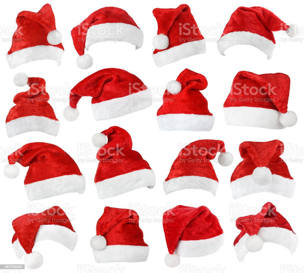 Set of Santa Claus red hats stock photo
