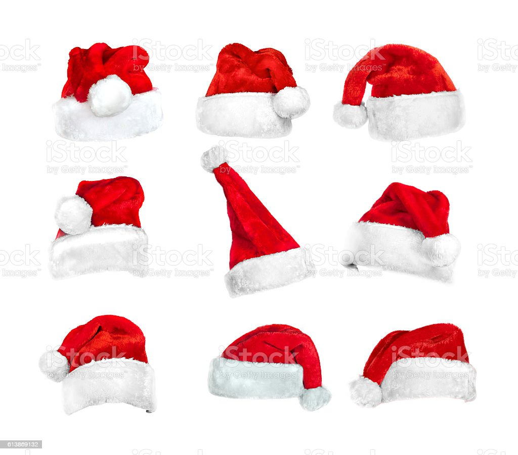 set of Santa's hats isolated on white with clipping path stock photo