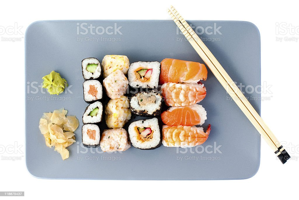 Set of sashimi on plate royalty-free stock photo