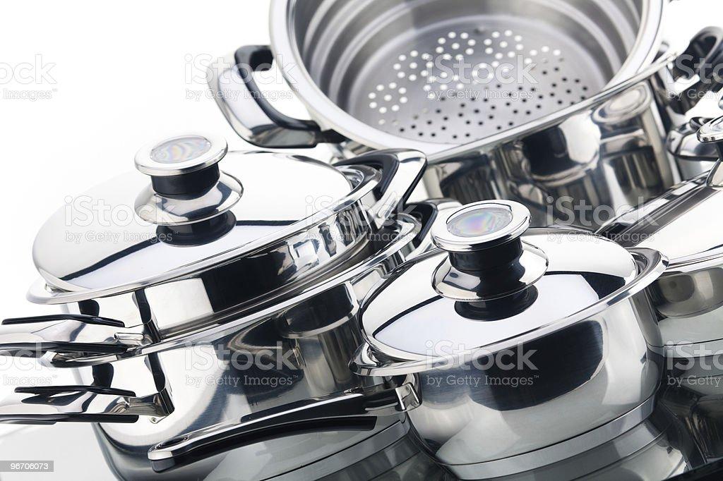 Set of saucepans, stainless steel stock photo