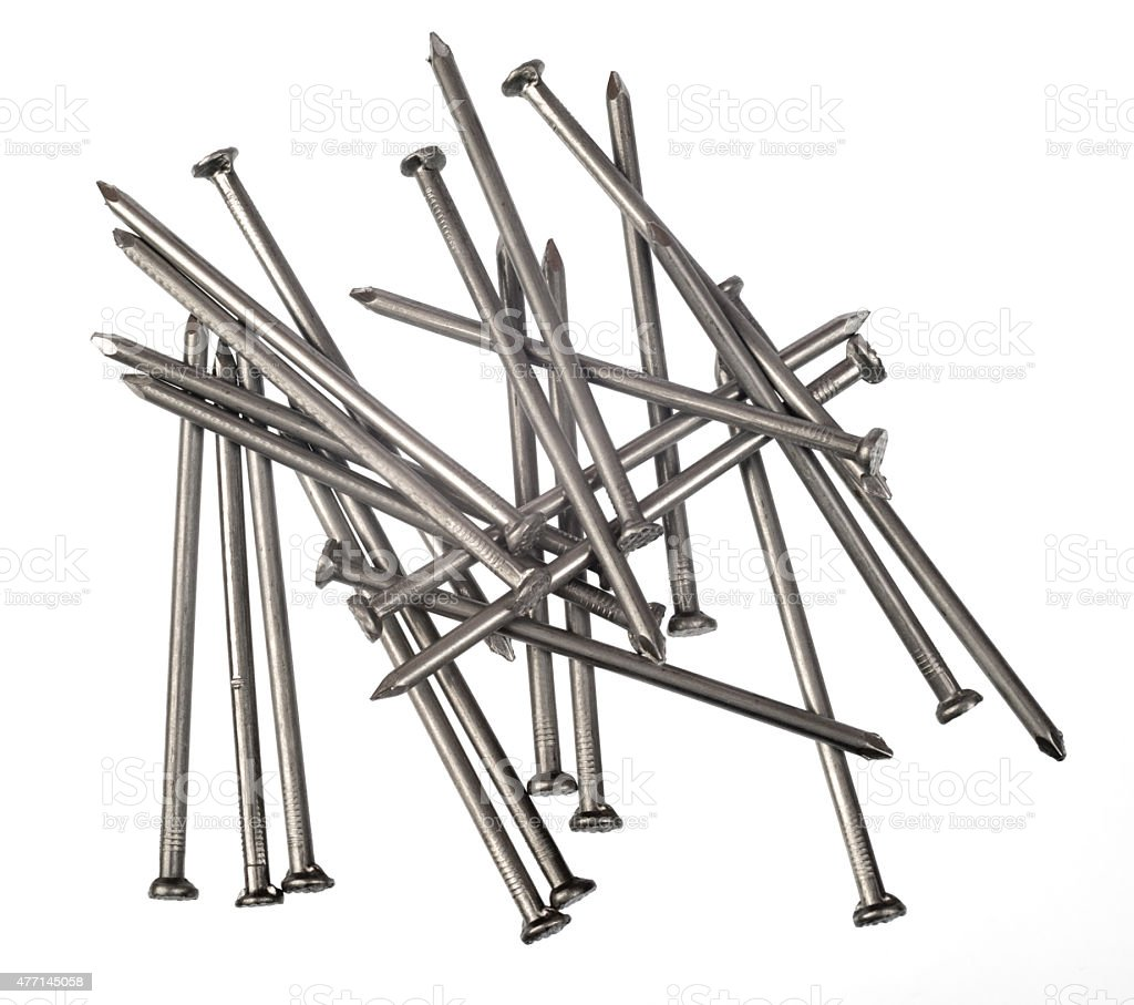 Set of scattered nails stock photo