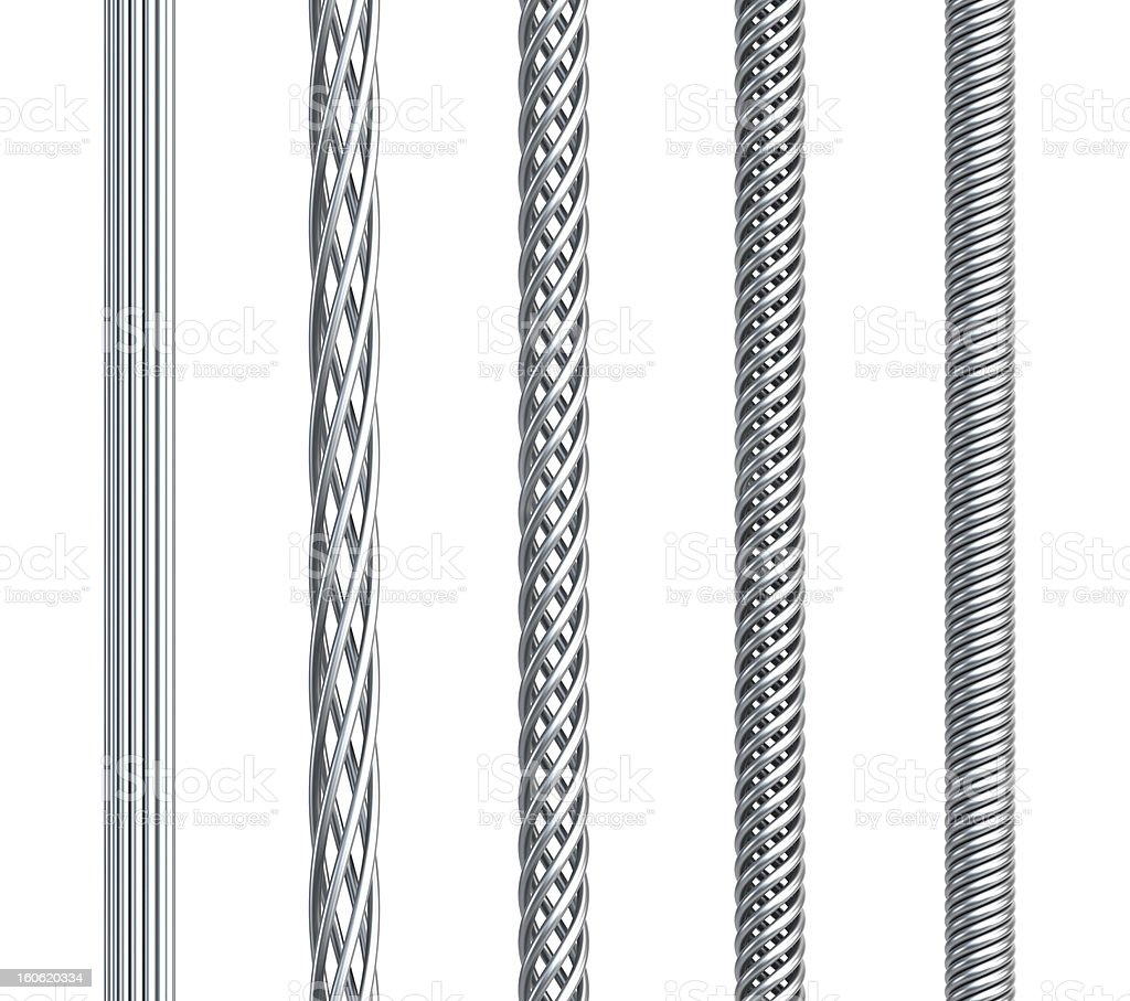 set of seamless steel cable royalty-free stock photo