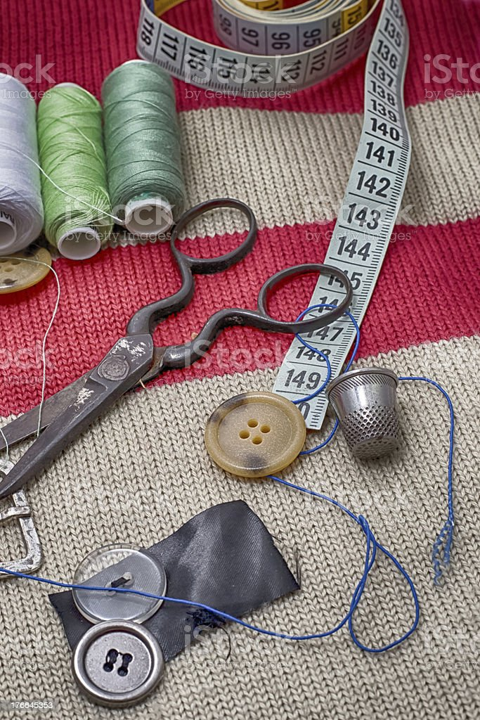 set of seamstress for needlework royalty-free stock photo