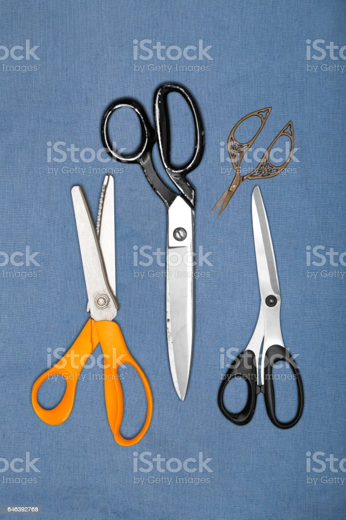 Set of Sewing Scissors and Shears stock photo
