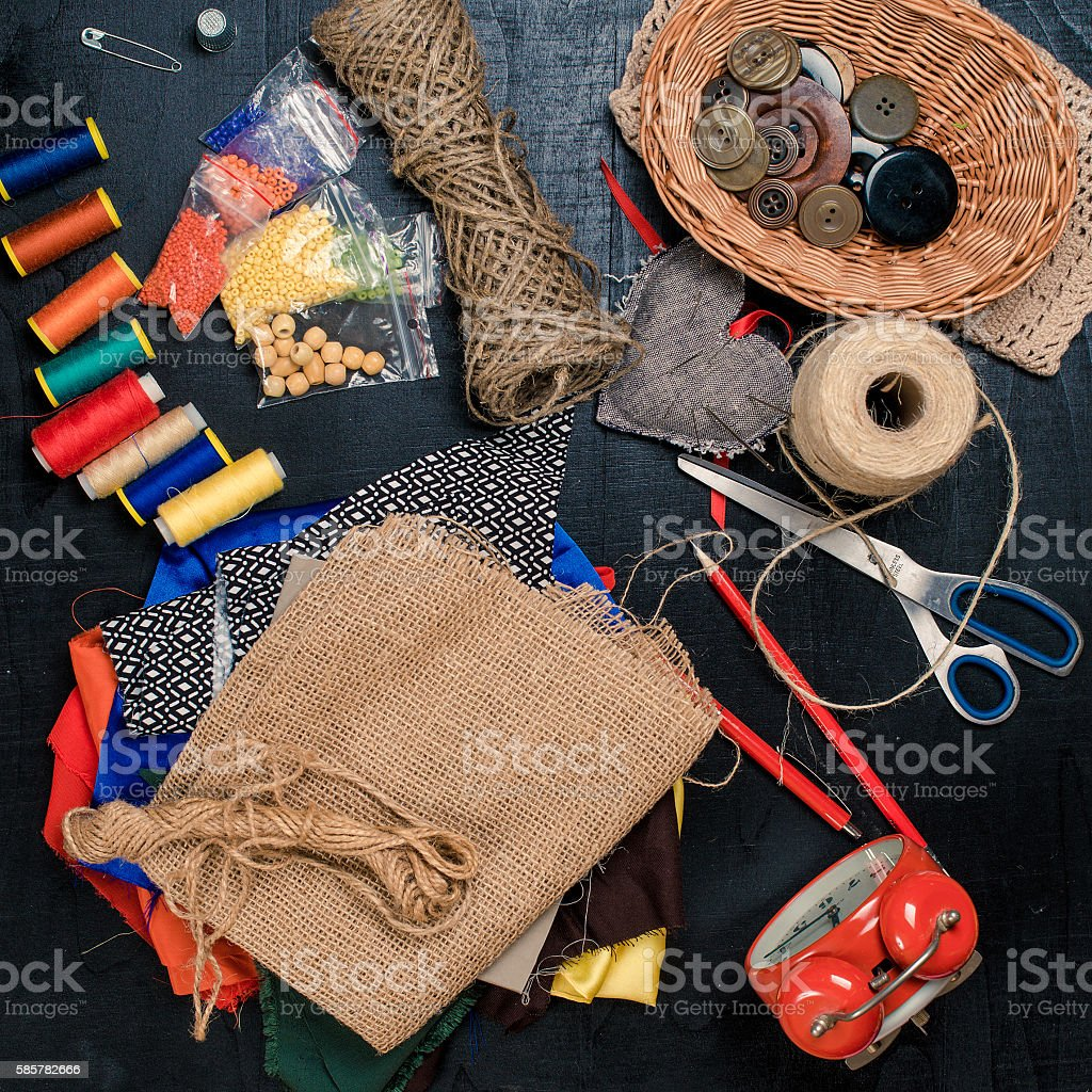 Set of sewing tools and materials. Handmade workplace. stock photo
