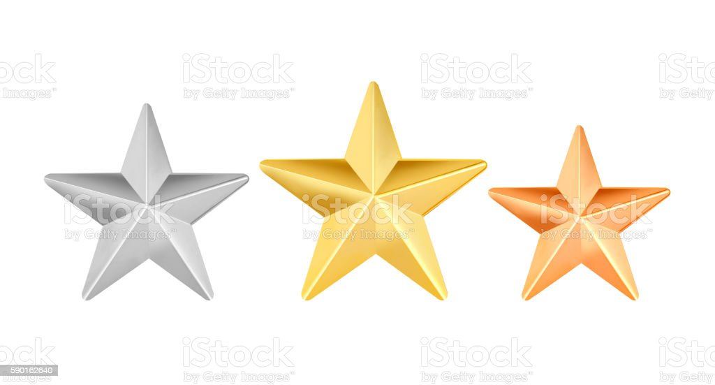 Set of shiny star icons in different color stock photo