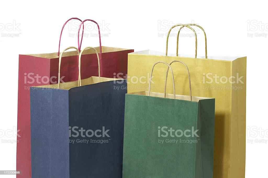 Set of shopping bags with handles royalty-free stock photo