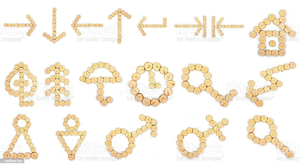 Set of signs, symbols, icons on a white background stock photo