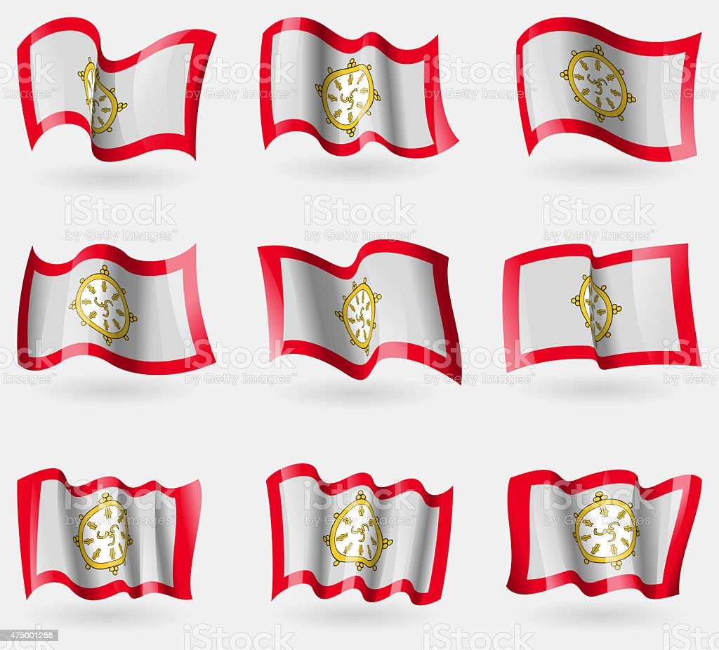 Set of SIKKIM flags in the air. vector art illustration