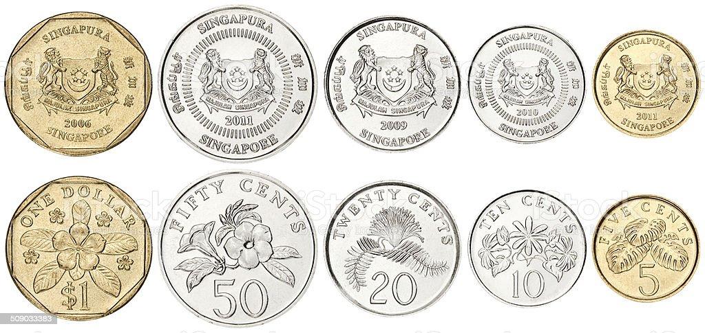 Set of Singapore Coins stock photo
