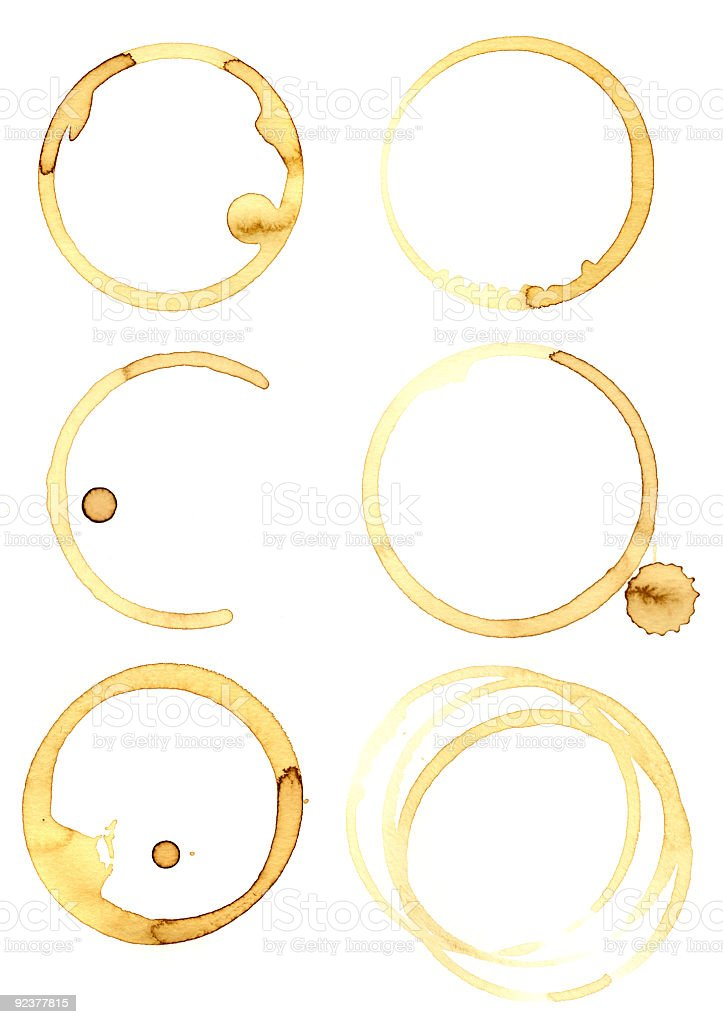 Set of six circular coffee mug stains isolated on white royalty-free stock photo