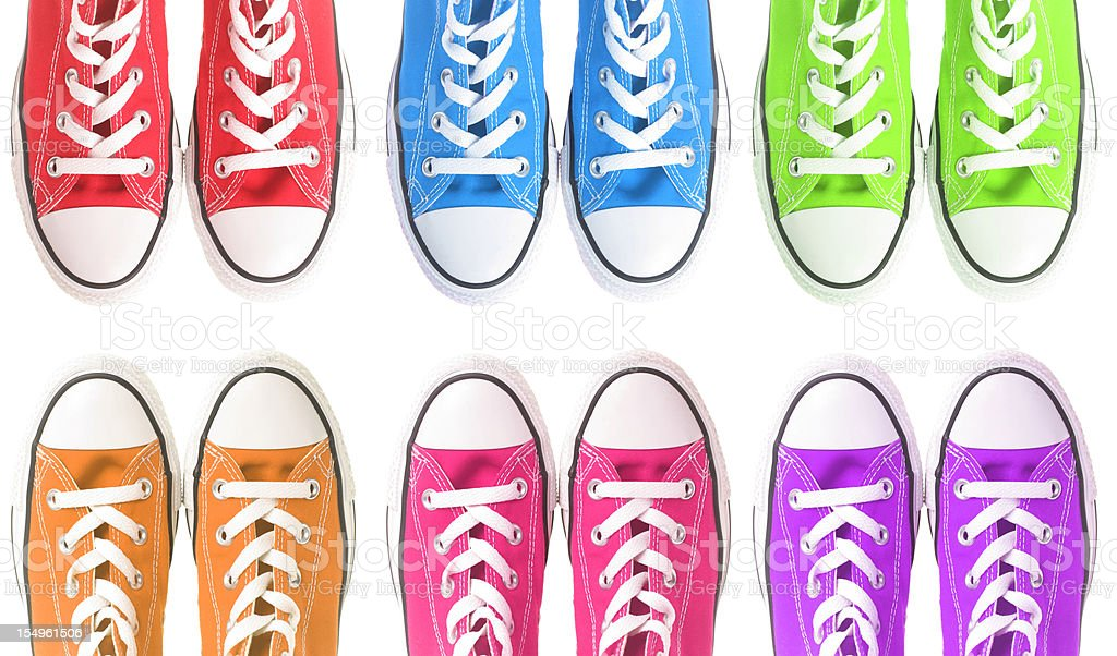 Set of six colorful sneakers over a white background royalty-free stock photo