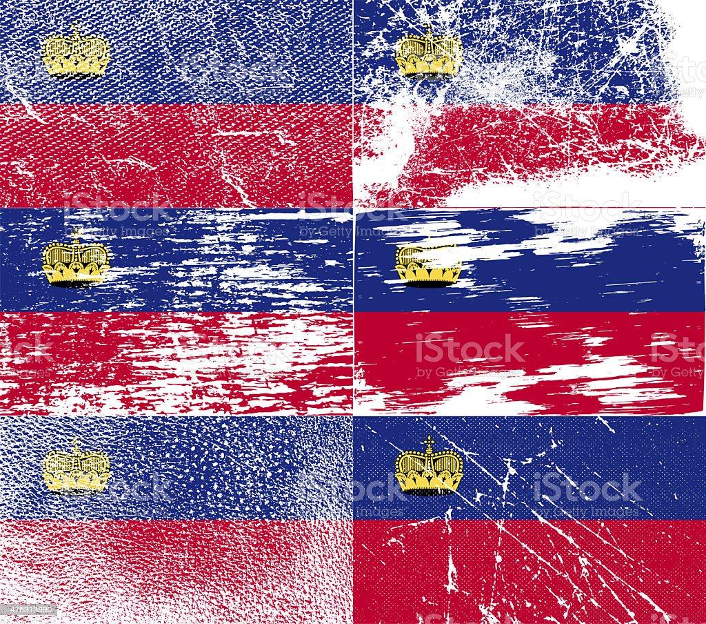 Set of six flags Liechtenstein with old texture. stock photo
