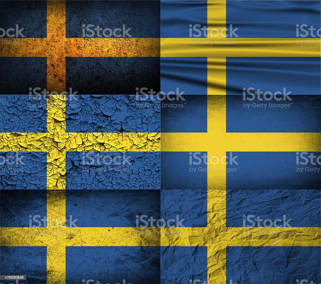 Set of six flags Sweden with old texture. stock photo