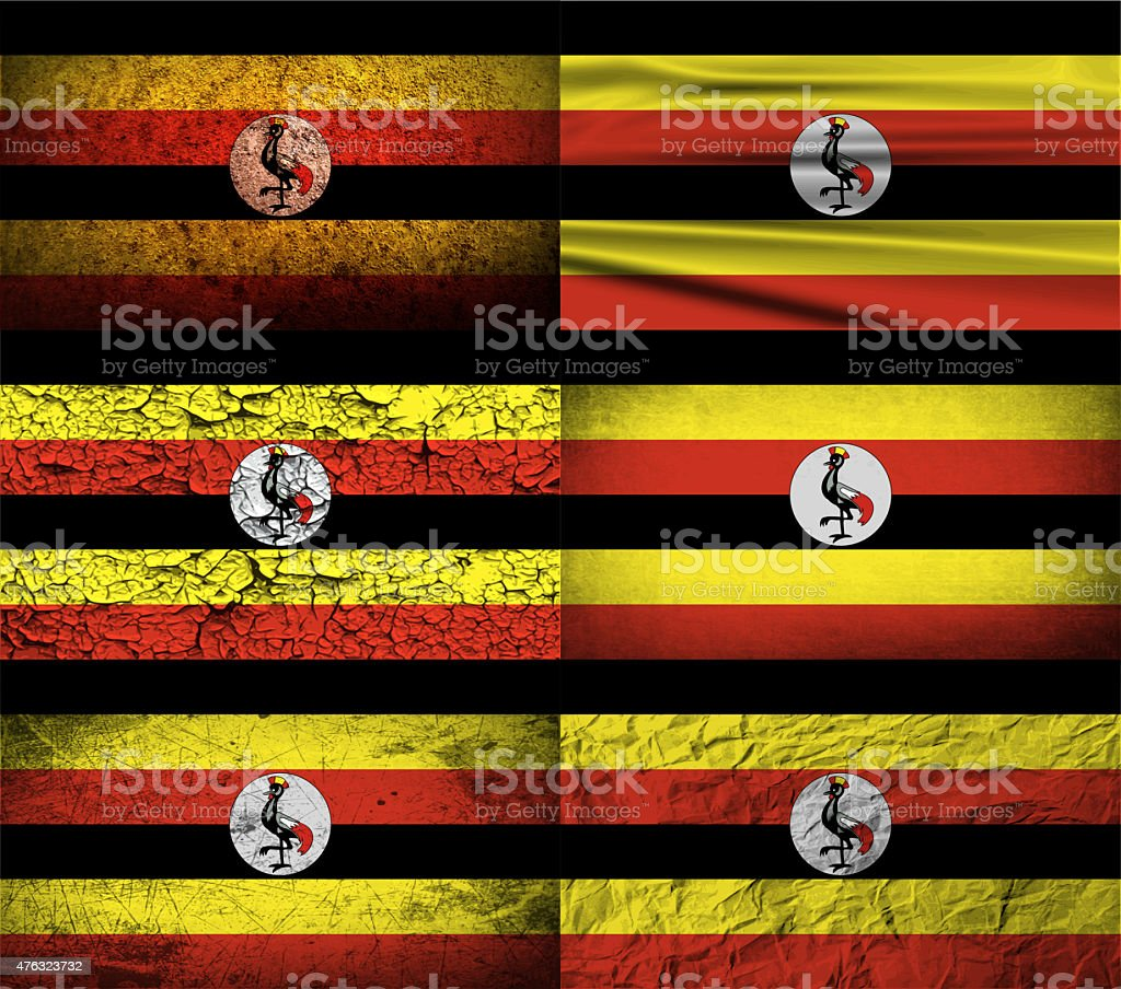 Set of six flags Uganda with old texture. stock photo