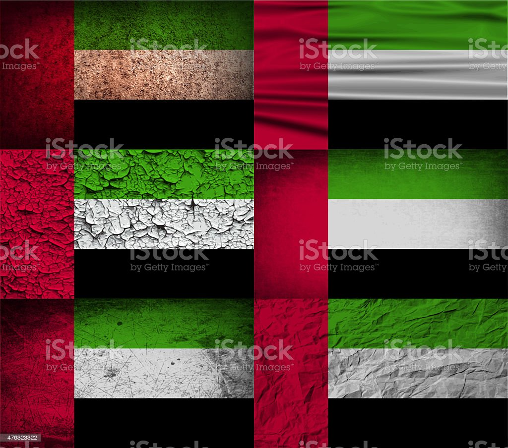 Set of six flags United Arab Emirates with old texture. stock photo