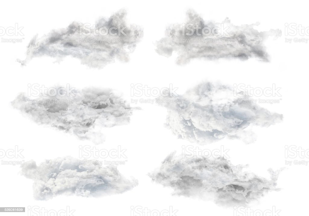 set of six grey isolated clouds stock photo