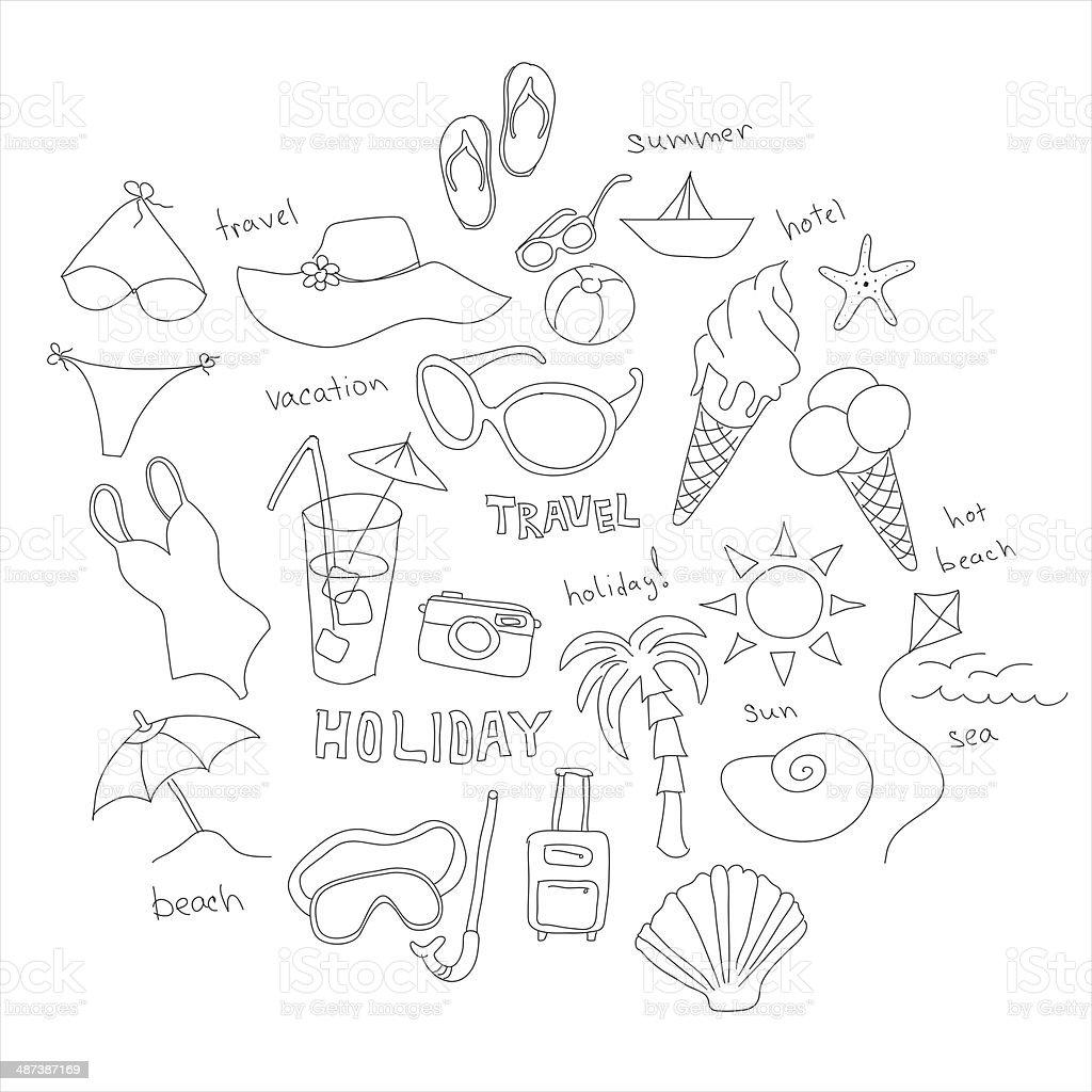 Set of sketches - summer vacation at sea royalty-free stock photo