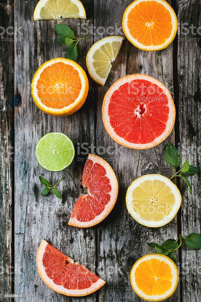 Set of sliced citrus fruits stock photo