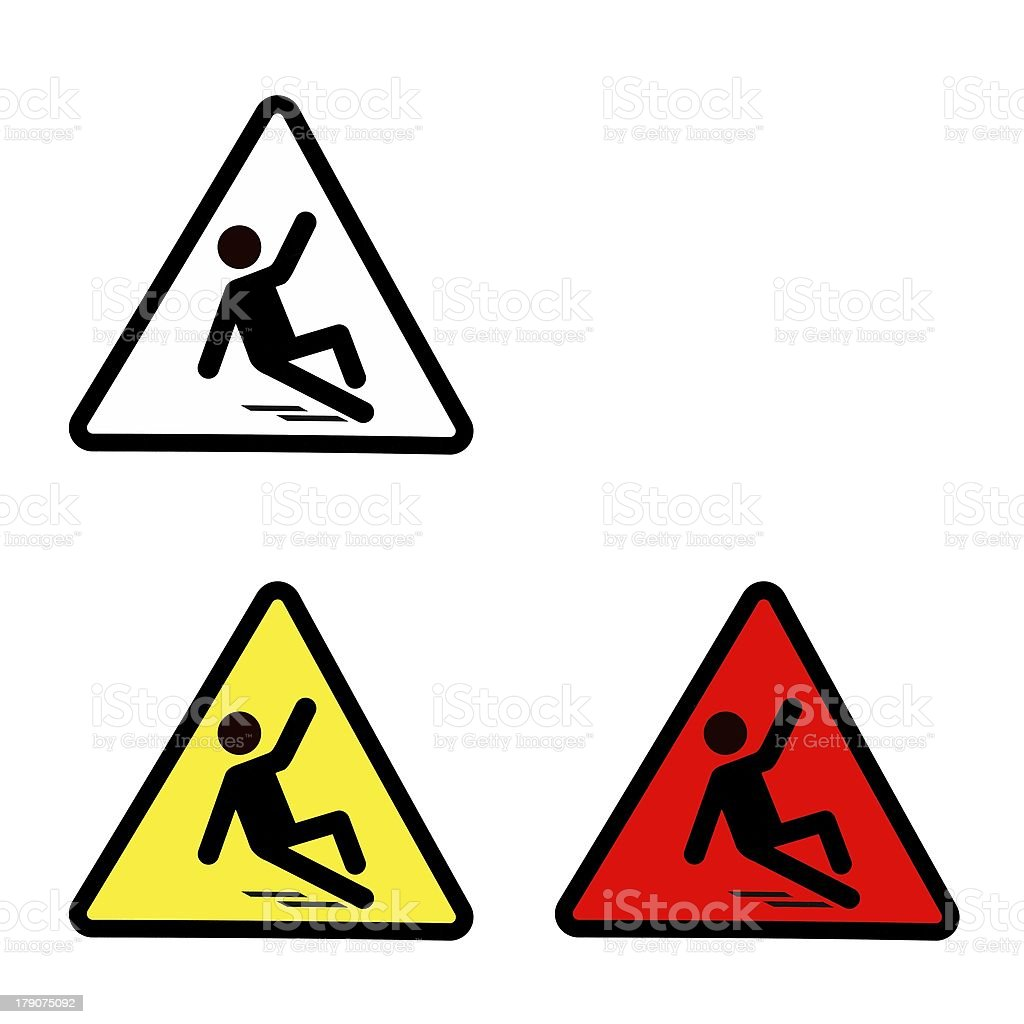 Set of slippery wet floor sign isolated on white stock photo