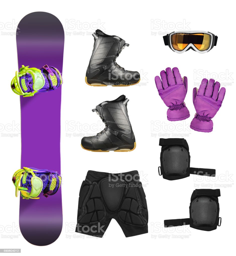 Set of snowboard equipment stock photo