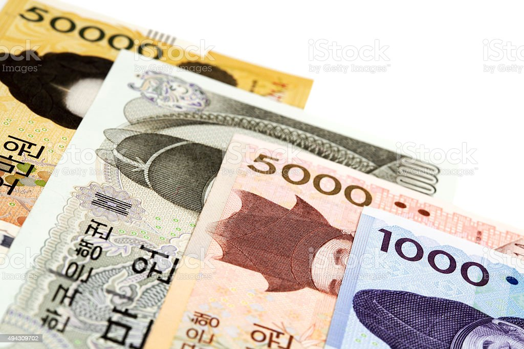 Set of South Korean Currency won stock photo