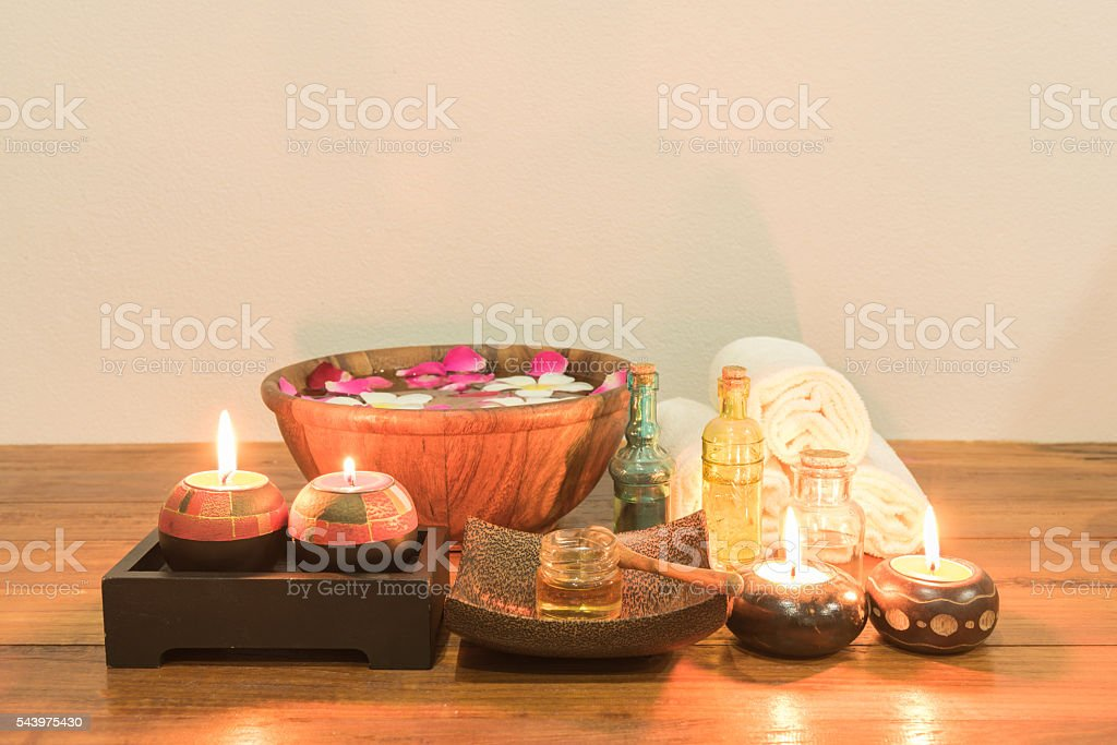 set of spa on wooden table stock photo