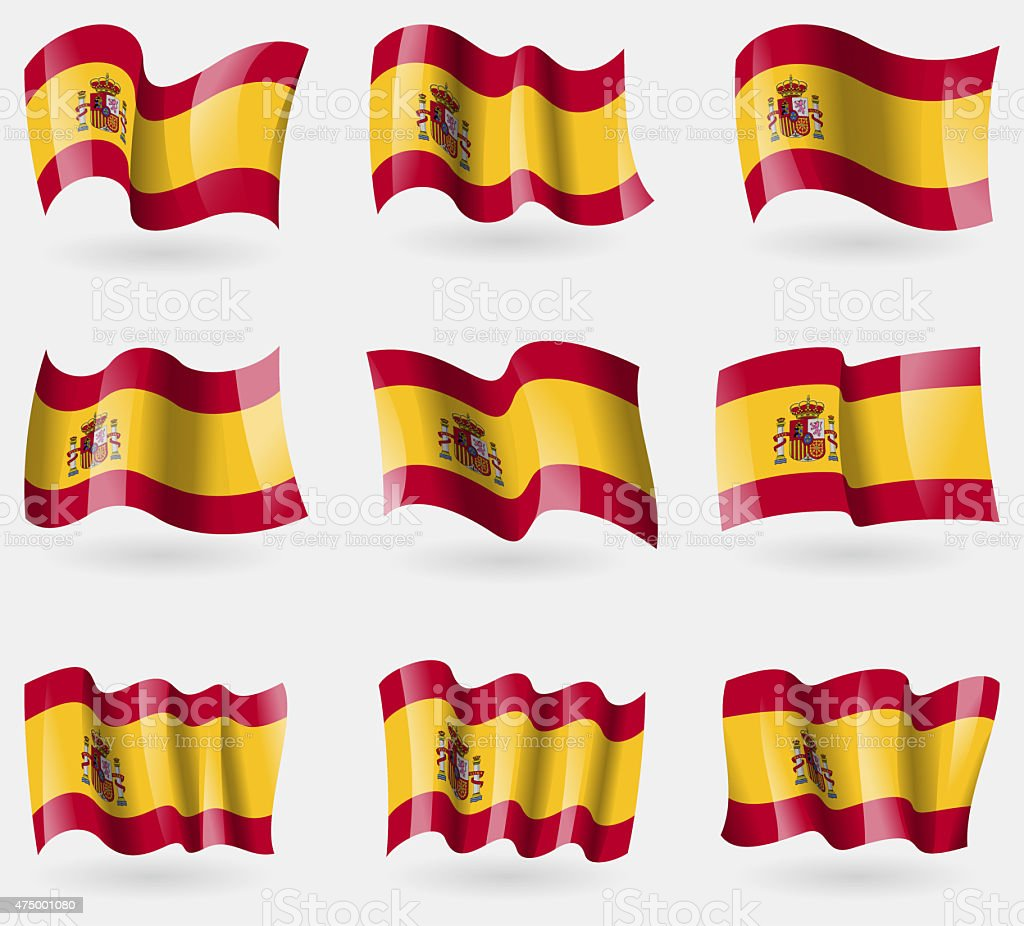 Set of Spain flags in the air. vector art illustration