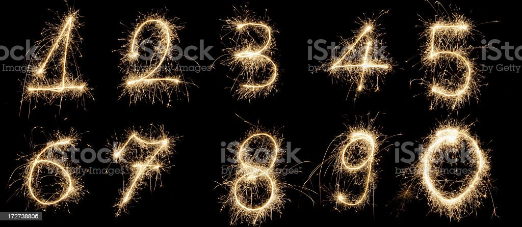 Set of sparkling glowing numbers royalty-free stock photo