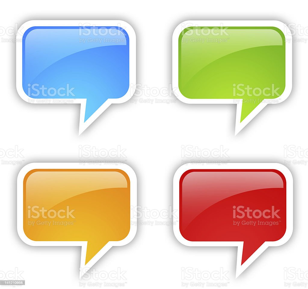 A set of speech bubble in different colors stock photo