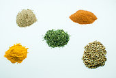Set of spices and seasonings: curry, pepper, saffron, muscat, turmeric