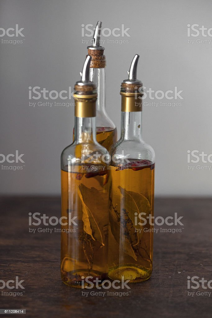 Set of spicy olive oil bottles stock photo