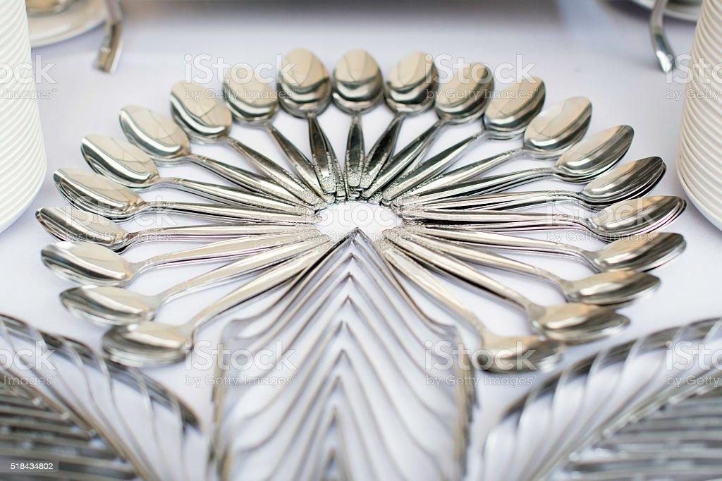 set of spoons stock photo