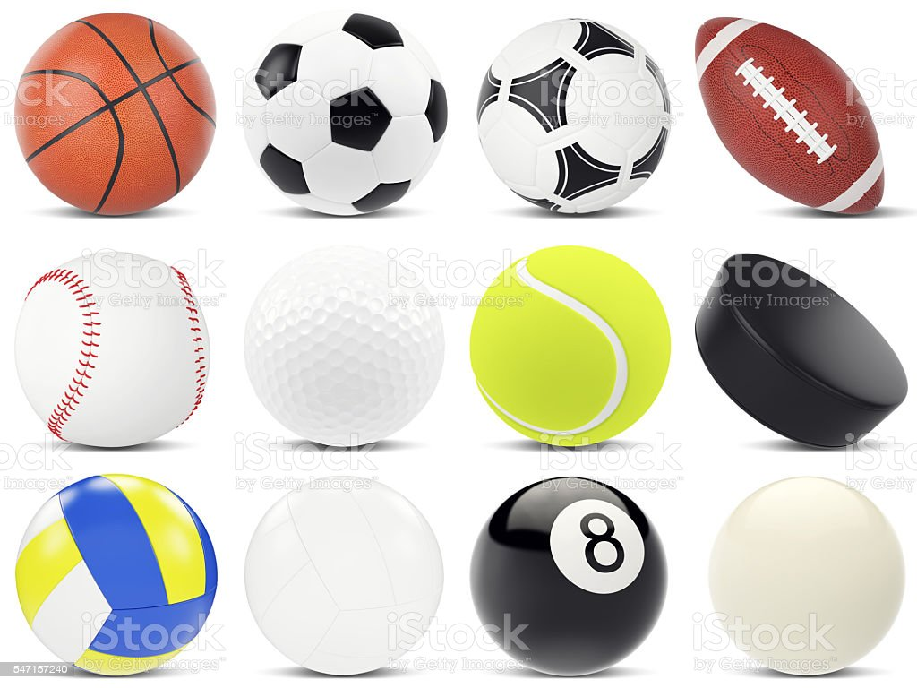 Set of sports balls, soccer, basketball, rugby, tennis, volleyball, hockey stock photo