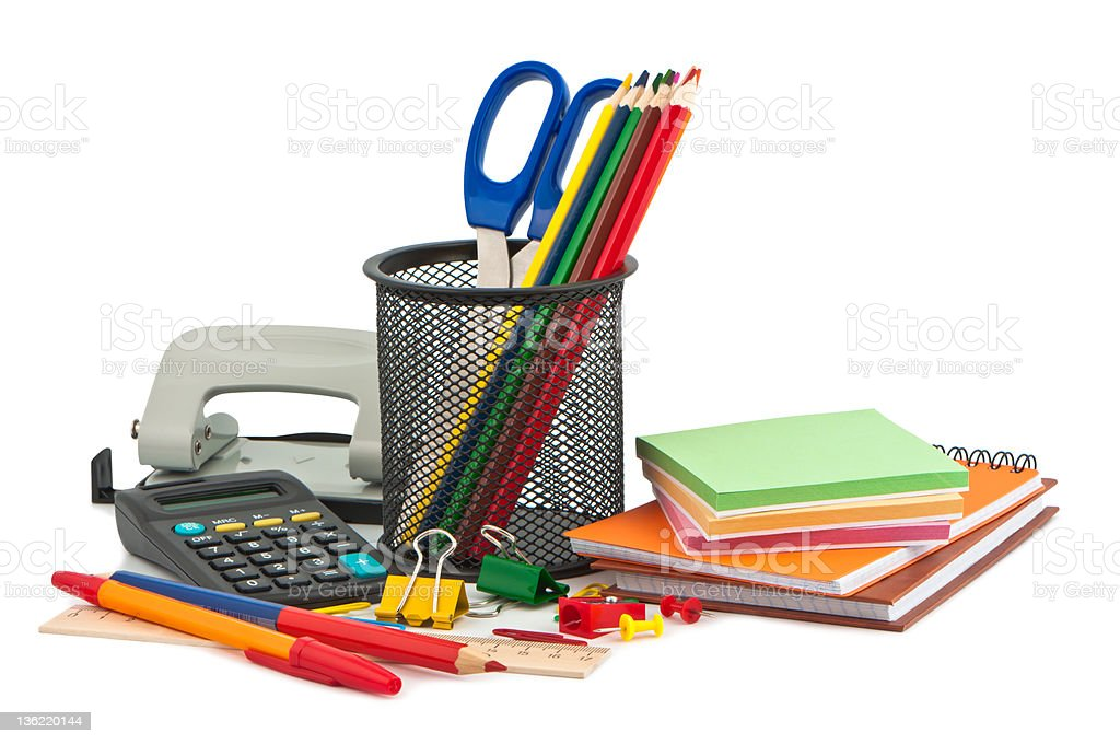 Set of stationery items. stock photo