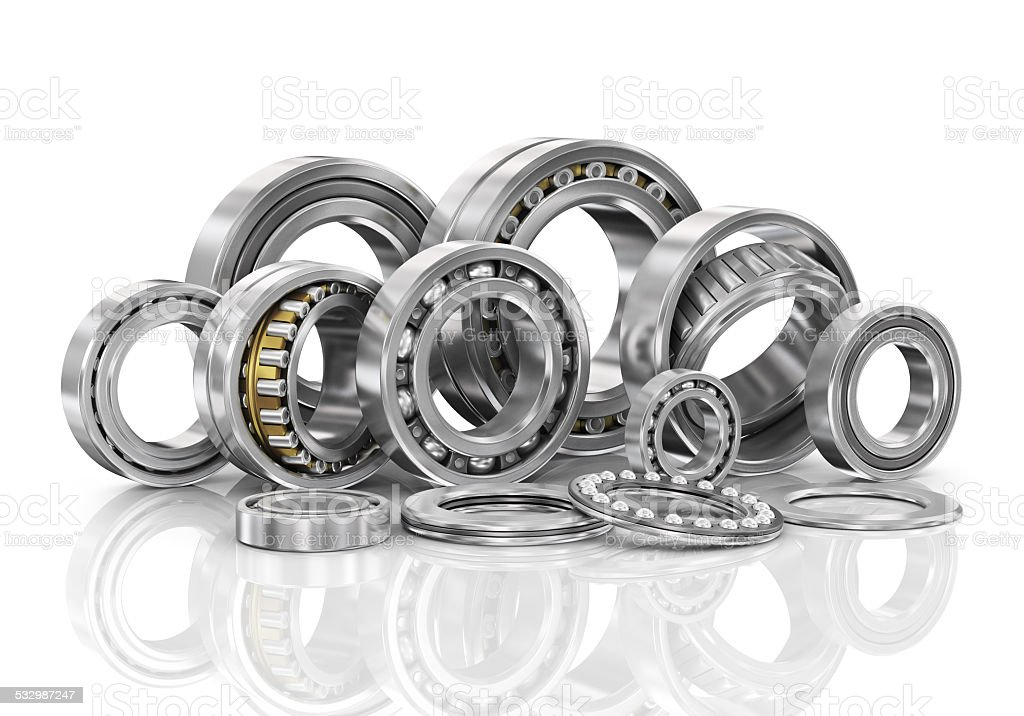 Set of steel ball bearings in closeup. stock photo