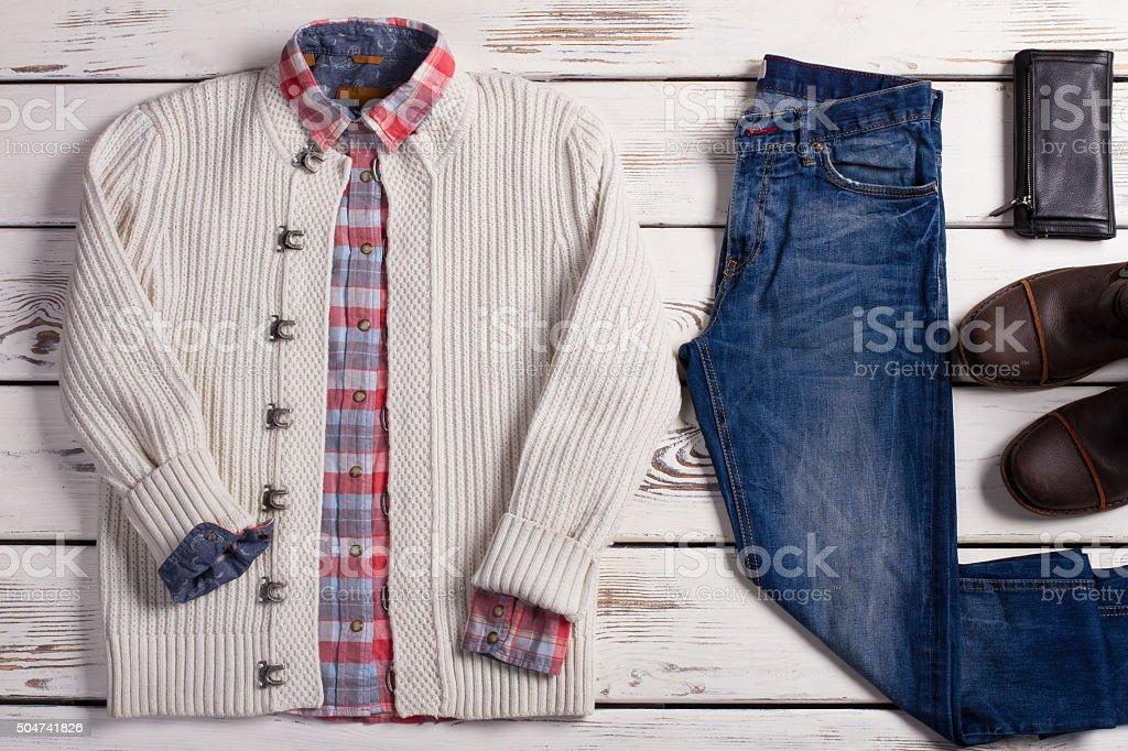 Set of stylish winter men's clothing. stock photo